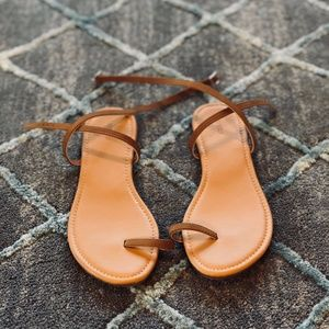 Brown Faux Leather Toe Ring Flat Sandals